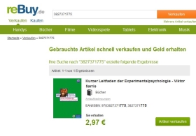 Ankaufs-Angebot gebrauchtes Buch Kurzer Leitfaden der Experimentalpsychologie von reBuy