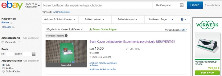 Angebot bei Ebay gebrauchtes Fachbuch Kurzer Leitfaden der Experimentalpsychologie