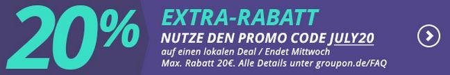 20 Prozent Extra-Rabatt Groupon Juli 2015