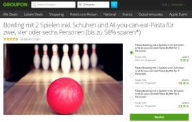 Groupon Deal: Bowling mit Pasta All-you-can-eat in Dinslaken
